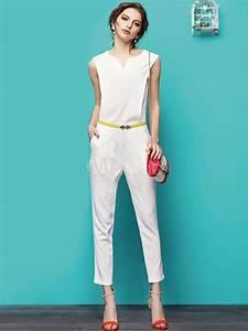 Combinaison Pantalon Femme Mariage : combinaison longue mode blanche unicolore pour femme ~ Carolinahurricanesstore.com Idées de Décoration