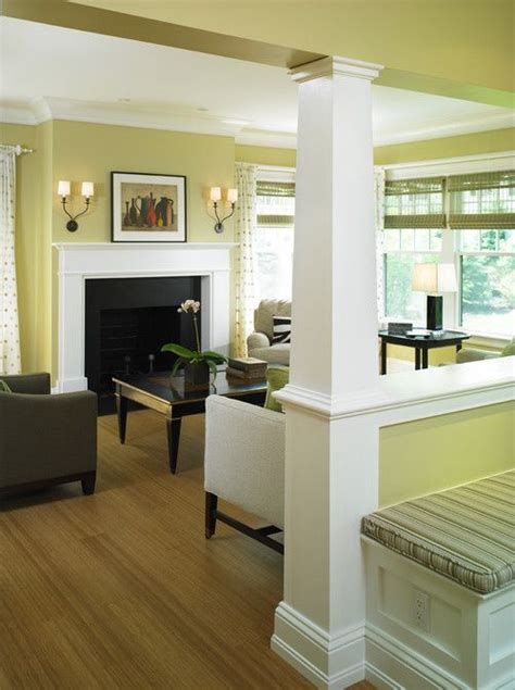 partial wall ideas love this column and pony wall separate kitchen and living area would love to do this with