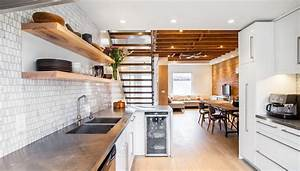 Dishy Stainless Steel Floating Shelves with Open Stair Brick