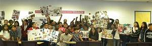 Tamika, Lamb, And, Students, Showing, Their, Collages, From, The