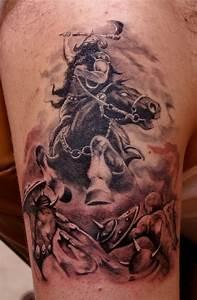 Fearsome warrior on horseback tattoo by fiesta ...