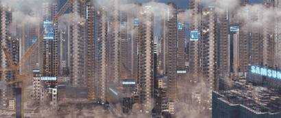 Future Dystopian Cities Animated Near Young Dark