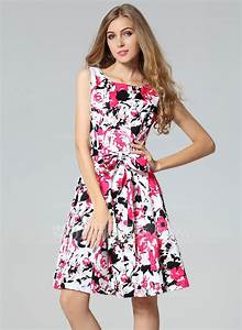 Polyester/Cotton With Print Knee Length Dress (199087191 ...