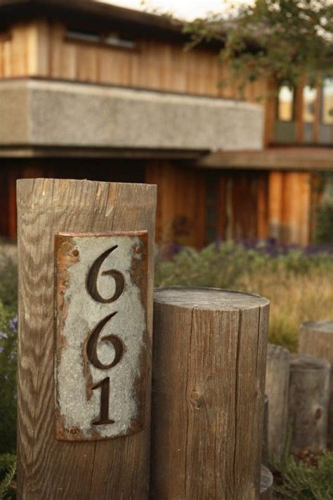 house number sign love  rustic sign   post