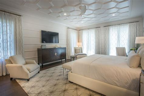 chic bedroom  honeycomb ceiling  paneled walls
