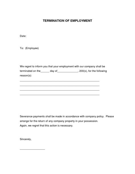 termination of employment form template form employment termination form