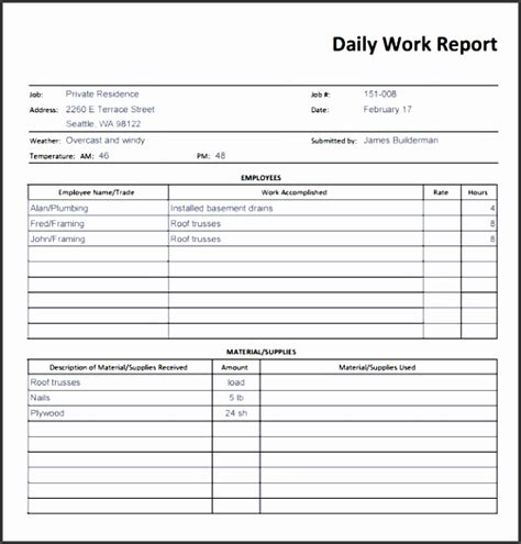 daily report  ms word sampletemplatess