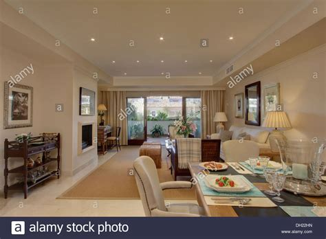 Genius Open Living Room Dining Room by Table Set For Lunch In Dining Area Of Open Plan Living