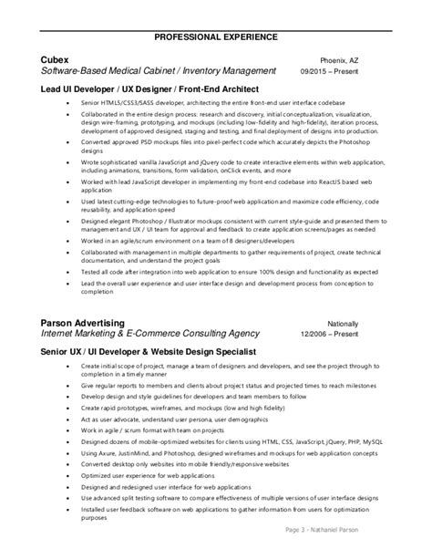 Ux Manager Resume by Nathaniel Parson Ux Ui Designer Developer 2016 Resume