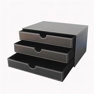 ever perfect 3 layer leather desk document storage box With document organizer box