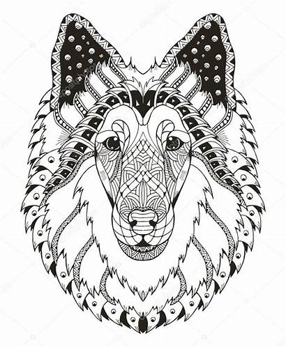 Collie Zentangle Rough Hond Dog Hoofd Head