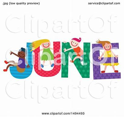 June Word Month Colorful Clipart Playing Children