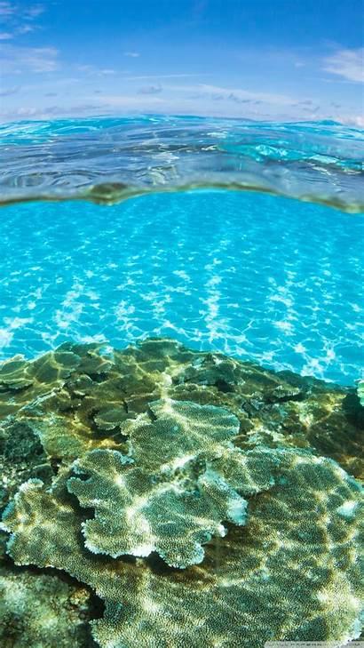 Water Underwater Half Smartphone Ocean Above Background