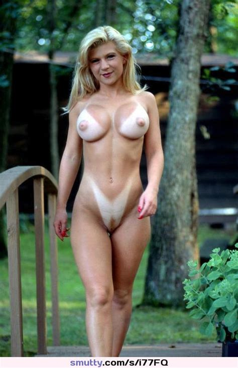 Tanlinde  BLonde  Naked  Cute  Sexy  Nude  SMirk  Bridge  Outside  Outdoors  Tree  Plant