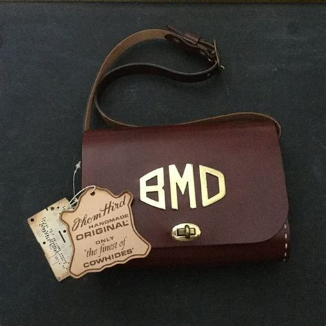 thom hird purse monogram purse  villager leather purse solid brass hardware