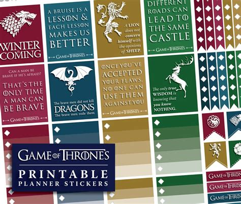 printable game of thrones planner stickers instant download got stickers game of thrones
