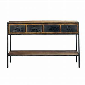 Solid Mango Wood And Metal Industrial Console Table In