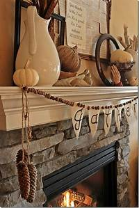 inspiring rustic fireplace mantel Thanksgiving, Fireplaces and Inspiration on Pinterest