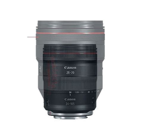 size of canon rf 28 70mm f 2l usm lens mount on eos r