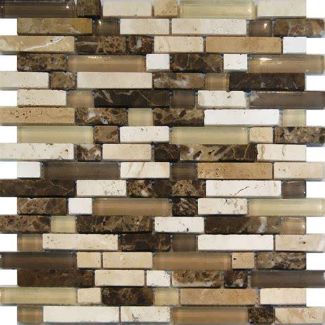 mosaic kitchen tile 10sf emperador travertine marble glass brown beige 4286