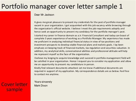 cover letter example for portfolio portfolio manager cover letter