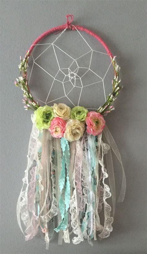 diy floral dream catcher   baby girls room baby