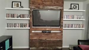 Mur Tv Bois : meuble mur bois de grange sous sol house design ~ Teatrodelosmanantiales.com Idées de Décoration