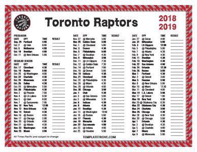 printable   toronto raptors schedule