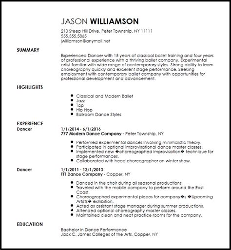 Performance Resume Template by Free Contemporary Dancer Resume Template Resume Now