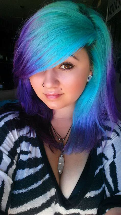 Bad Ass Teal To Purple Ombre Dye Job Scene Emo Goth
