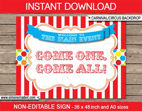 Circus Signs Template by Printable Carnival Backdrop Sign Circus