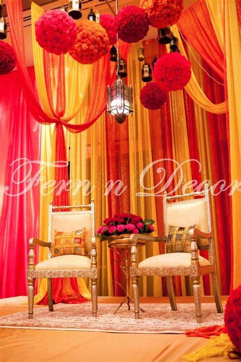 yellow and orange wedding decorations yellow and orange wedding stage decor fern n decor south asian weddings