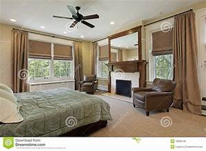 Master Bedroom With Fireplace Stock Photo - Image: 18090148