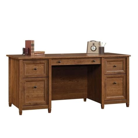 sauder edge water executive desk in auburn cherry