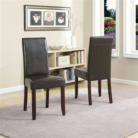 simpli home acadian brown faux leather parsons dining