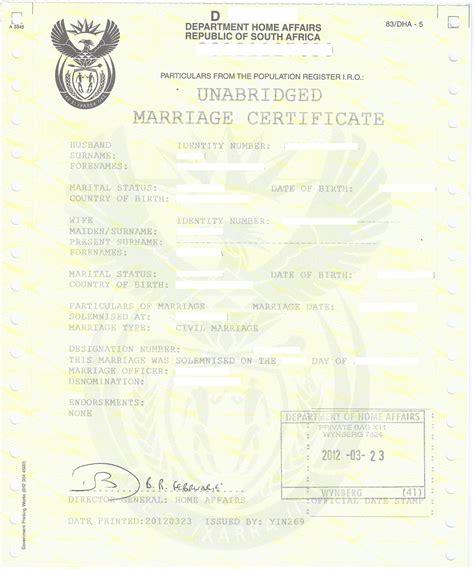 unabridged marriage certificate apostilles  police