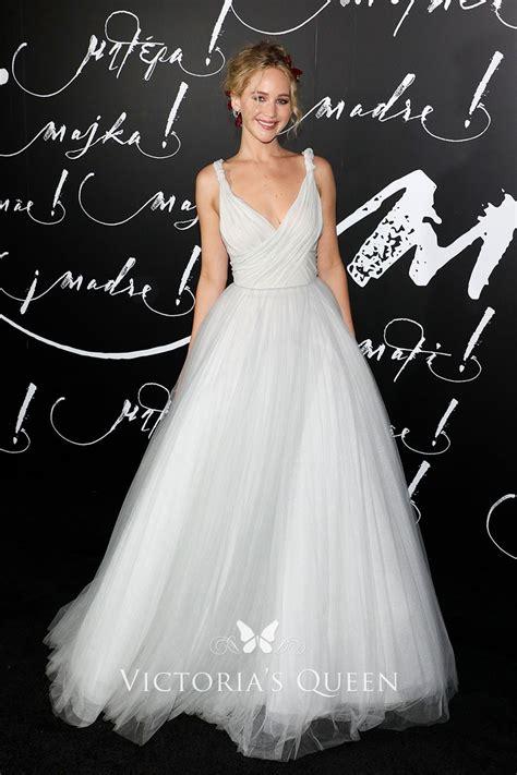 Jennifer Lawrence Off White Tulle Prom Dress 2017