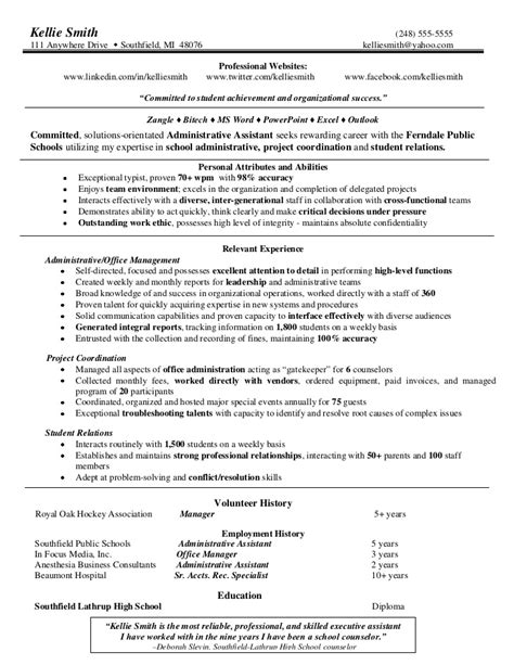 resume for school office assistant 3 administrative assistant sle
