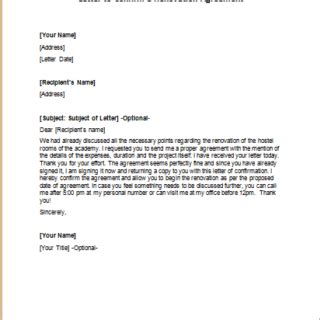 renovation agreement letters writelettercom