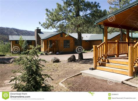 vacation cabins in summer vacation cabin in the mountain woods stock photo
