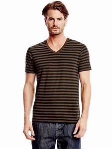 G By Guess Men's Yannor Striped V-Neck Tee | eBay