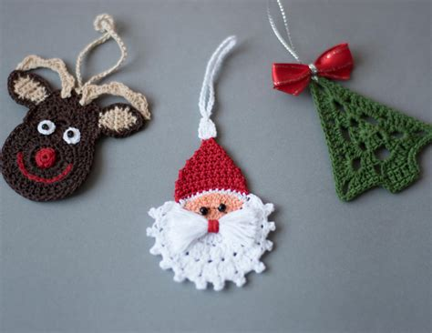 crochet christmas ornaments set of 3 ornaments crochet
