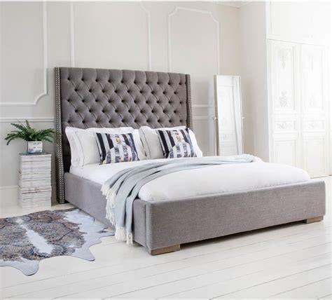 Studs and Buttons Grey Upholstered Bed King Size   Beds