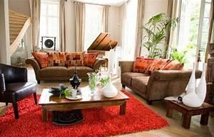 salon bois et chiffons 20 photos With tapis rouge avec vidaxl canapé