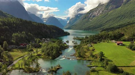 Beautiful Nature Norway natural landscape. Aerial footage ...