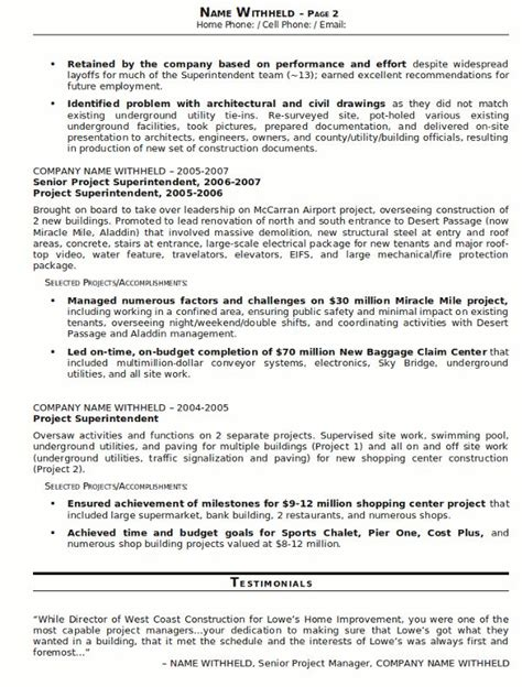 Works Superintendent Resume by 25 Unique Resume Sles Ideas On Sle