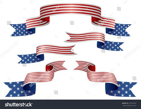 Set Usa Insignia Different Shape Ribbons Stock Vector