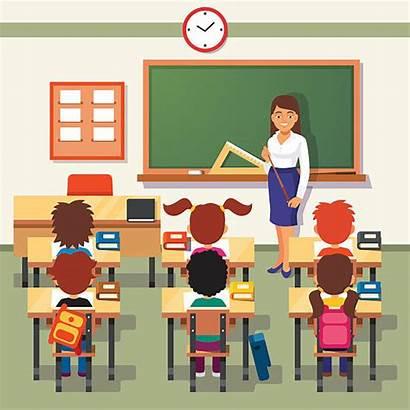 Classroom Vector Illustrations Clip Teacher Lesson Students