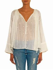 Mes demoiselles Lina Embroidered Cotton-Gauze Top in White ...