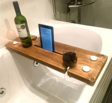 rustic bath caddy strong solid chunky wood smartphone